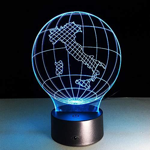 Italien Erde Karte Licht 3D Visuelle Led Lampe 7 Farbe Pilz Usb Schlafzimmer Kleine Schreibtischlampe 7 Farben Ändern Led Nachtlichter Deco - Grüne Erde Textilien