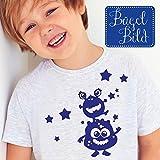 9cc3247dc6f64 Bügelbild Monster von Wandtattoo-Loft®   Applikation zum selbst Aufbügeln    blau   Space   Patches   T-Shirt Aufbügler mit Sternen