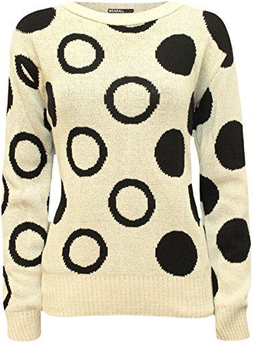 WearAll - Motif Cercle spot manches longues pull en tricot Top - Pullover - Femmes - Tailles 36 à 42 Crème