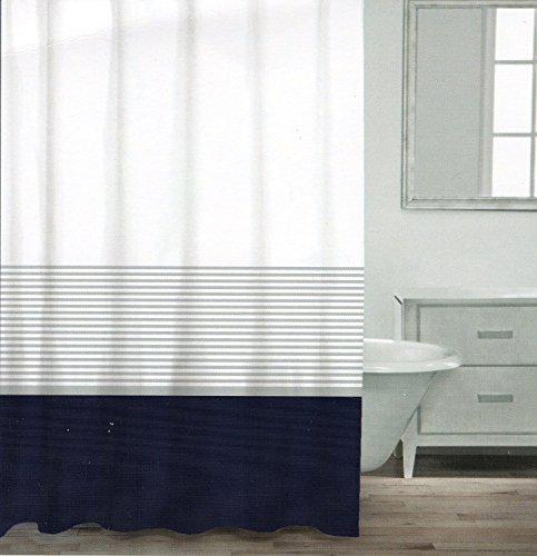 Marina Duschvorhang (CARO Home 100% Baumwolle Vorhang für die Dusche breit Stripe Stoff Duschvorhang, gestreift weiß silber Navy Türkis Grau nautischen Stil, baumwolle, marineblau, 72Lx72W)