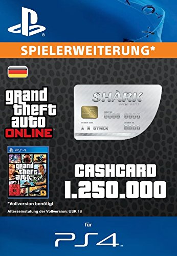 Grand Theft Auto Online | GTA V Great White Shark Cash Card | 1,250,000 GTA-Dollars | PS4 Download Code - deutsches Konto