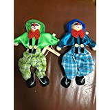 SPARIK ENJOY 2 Packs Clown Hand Marionette Puppet Children's Wooden Marionette Toys Colorful Marionette Puppet Doll Parent-Child Interactive Toys- Green And Blue