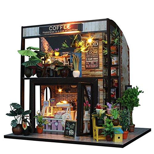 Garten-licht-satz (DIY Dollhouse Handcraft Miniatur 3D Kabine Hütte Puppenhaus aus Holz Mini handgefertigte Puppenhaus Miniatur-Kit mit LED-Licht Geburtstagsgeschenke für Mädchen Jungen pädagogisches Spielzeug Set)