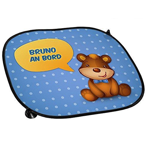 Auto-Sonnenschutz mit Namen Bruno und schönem Teddybär-Motiv für Jungs - Auto-Blendschutz - Sonnenblende - Sichtschutz