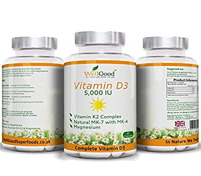 **SPECIAL LAUNCH PRICE** Vitamin K2 with High Strength Vitamin D3 5,000IU Plus Magnesium Bis-Glycinate - Vegetarian Capsules - Bones, Teeth, Immune system support - 60 Capsules 2 Months Supply by WellGood from WellGood