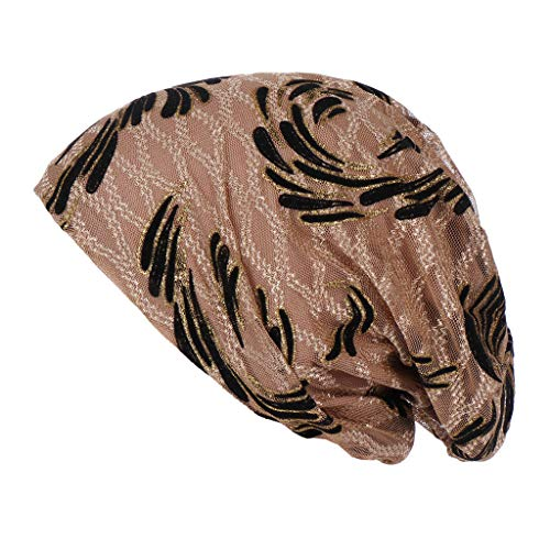 KUDICO Beanie Kappe Unisex Turban Elastisches Sommer Hut Chemo Kopfbedeckungen Headwear Muslim Kopftuch Blumen Mütze Wrap Cap(Khaki, one Size) -