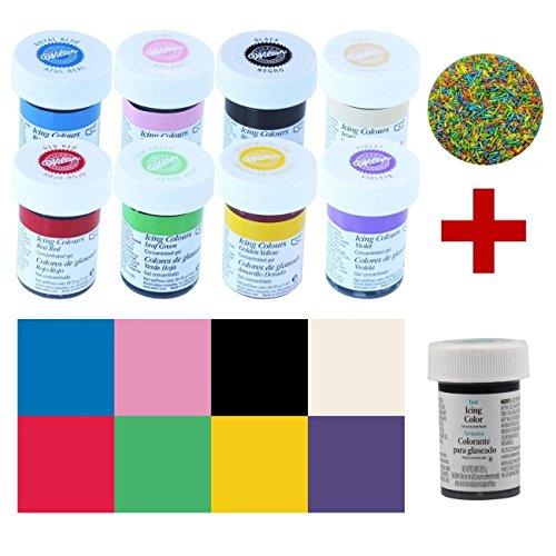 Wilton Icing Colors Lebensmittelfarben-Set 8+1, 8 Farben + Türkis