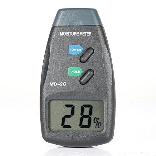 GrandBeing® LCD-Anzeige Digitales Feuchtigkeitsmessgerät Holzfeuchtemessegerät zur Feuchte-Messungen von Holz,Faser,Bambus,Baumwolle,Papier,Tabak,Holz usw. Messbereich 5% ~40%, mit 9V-Batterie und eine Tragetasche (2G)