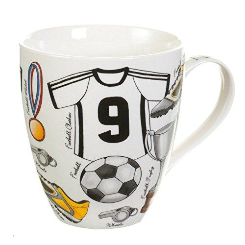 Dekoria Becher Football Becher, Keramik, Porzellan, Keramikbecher, Porzellanbecher, Football, Fußball, Geschenk Gluehwein Kaffebecher