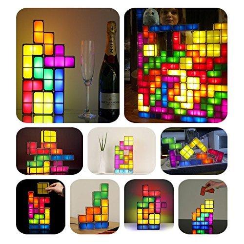 Sunix Tetris Heimwerker Aufbaubar Retro Spiel Stil Stapelbar LED Schreibtischlampe