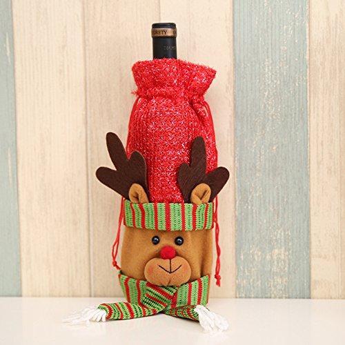 elzug Wein Flasche, Staubbeutel Santa Claus Rentier Schneemann Weihnachten Ornaments Geschenkpapier für rot Wein Abendessen Tisch Dekoration, g, 1 Stpck (Der Santa Anzug)