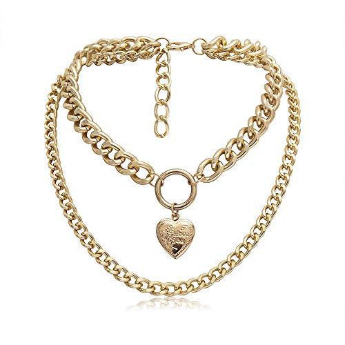 LJJY Herzförmige Erinnerung Retro-Mode Kästchen kann Halskette öffnen übertrieben Doppelschicht kreative Metall einfache Kurze Kette 34cm + 11cm mit - Halloween Beerdigung Kostüm