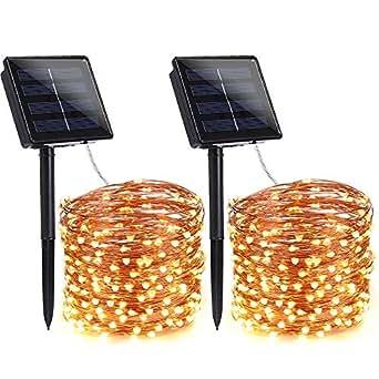 qedertek 2 st ck solar lichterkette au en 22m 200 led. Black Bedroom Furniture Sets. Home Design Ideas
