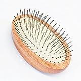 TAMUME Naturhaarbürste aus Buchenholz, Ovale Polsterbürste mit Metallborsten, Antistatisches Kopfhautmassagegerät für das Haarwachstum