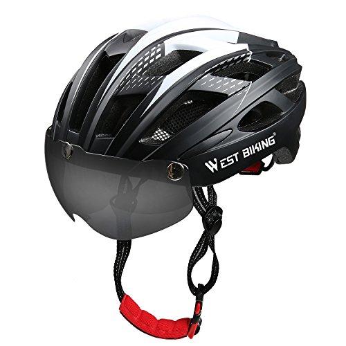 ICOCOPRO Fahrradhelme mit Abnehmbare magnetische Sonnenschutzbrille,Sicherheitsschutz für Männer und Frauen, Zertifiziert, Schwarz/Rot/Gelb/Blau/Grün (5Farbe)