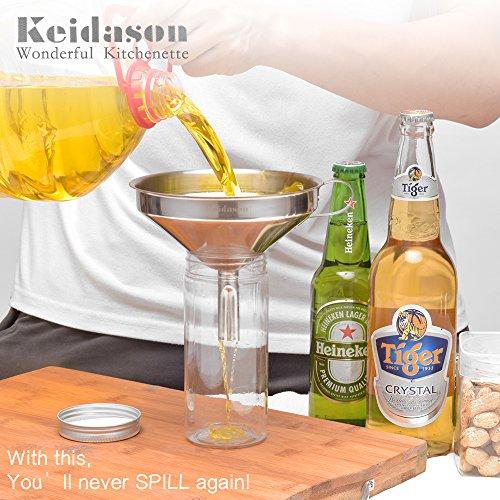 Keidason Edelstahl Küche Trichter mit Abnehmbarer Filter für den Transport von Flüssigkeiten & Fluid - 5