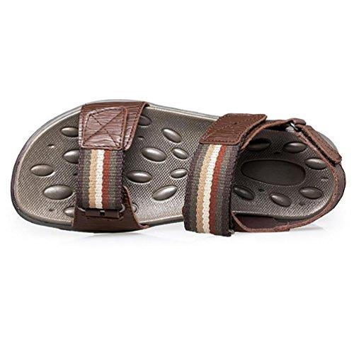 SHANGXIAN Fondo piatto in pelle uomo vestito sandalo (due generi di tees) Brown