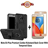 GOELECTRO MOTO E4 PLUS Back Cover / E4 PLUS (COMBO OFFER) Hard Armor Hybrid Bumper Flip Stand Rugged Back Case Cover For MOTO E4 PLUS / E4 Plus With Free Full Coverage 2.5D Curved Tempered Glass Screen Protector (Gold)