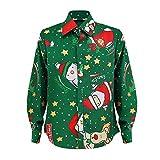 SEWORLD Heißer Einzigartiges Design Mode Damen Frohe Weihnachten Langarm Winter Umlegekragen Weihnachtsmann Drucken T-Shirt Top(Grün,EU-44/CN-2XL)