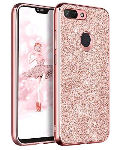 BENTOBEN Funda Xiaomi Mi 8 Lite, Fundas Xiaomi 8 Lite Purpurina Carcasa Ultra Delgada Ligera Cover Brillante Resistente Silicona PC Protectora Antigolpes Fundas para Xiaomi Mi 8 Lite 2018-Oro Rosa