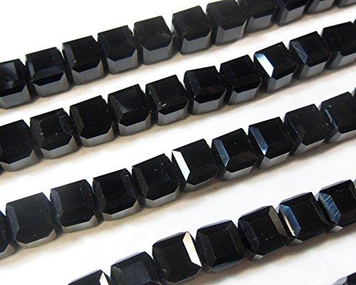25 TSCHECHISCHE KRISTALL PERLEN Schwarz 4mm Würfel GLASPERLEN CRYSTAL Böhmische Schmuckperlen Kristallschliffperlen Glasschliffperlen X225 -