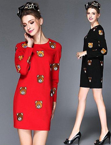LYQ/ Robe Aux femmes Grandes Tailles Grandes Tailles / Vintage / Soirée / Travail / Décontracté , Couleur Pleine Col Arrondi Au dessus du genou red-2xl