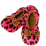 Deep Dusky Pink Soft Plush Animal Leopard Print Snoozies Fluffy Slippers (Medium UK 5-6)