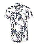 Herren Gemustert Hemd mit Tropenprint Kurzarm Slim Fit Leichtes Freizeithemd Sommerlicher Allover-Print Weiß XXL