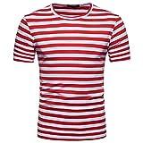 BURFLY Herren T-Shirt, Herren Sommer Casual O-Ausschnitt Pullover T-Shirt Top Bluse Männer Gestreiften Kurzarm Top T-Shirt (M, Rot)