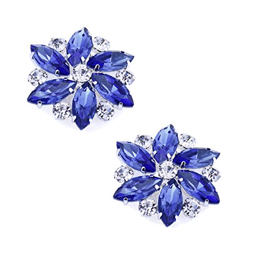 Elegantpark AJ Damen Passenden Fashion Tanzschuh Party Schuhe Clutch Tasche Hat Kleider Strass Blau Schuh clips 2 Stück