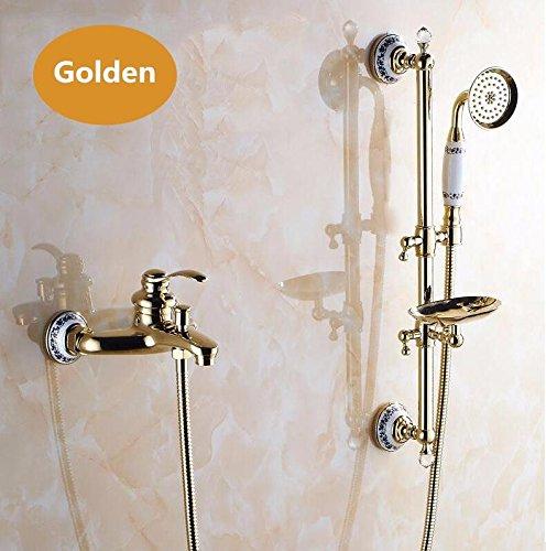 Luxurious shower An der Wand montierte Badezimmer Dusche Badewanne Dusche Wasserhahn aus Messing mit Slide Bar + Handheld Duschkopf + Seifenschale JM910, golden Set (Mit Duschkopf Bar Slide)