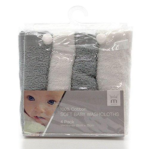 Meridiana (Fluggesellschaft) Super Weich 100% Baumwolle Baby Waschlappen für Jungen und Mädchen Maschinenwaschbar. Grau und Weiß. 4Pack, 25cm x 25cm x Grau Handschuh