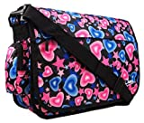 Brand New Girls Womens Love Hearts Uni School College Messenger Satchel Shoulder Bag (Black / Blue / Pink Hearts)