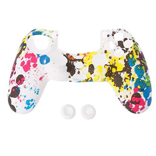 Anti-Rutsch-Multicolor-Silikon-Schutzhülle 2 Joystick Caps Für 4 PS4 Controller -