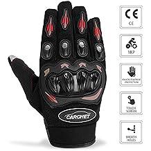 Guantes de Moto - CARCHET Guantes con protección, de dedo completo Impermeables para Moto Ciclismo Táctico Deporte Aire Libre