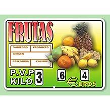 Cartel de Precios Frutería con Sujeción de Ganchos ...