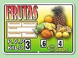 Cartel de Precios Frutería con Sujeción de Ganchos - 220x155 mm