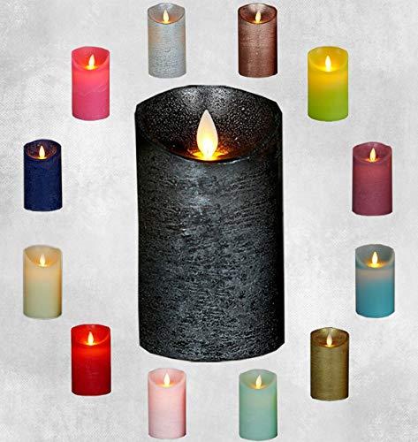 LED Echtwachskerze Kerze Farbauswahl Timer flackernde Wachskerze Kerzen Batterie, Farbe:Anthrazit, Größe:12.5 cm
