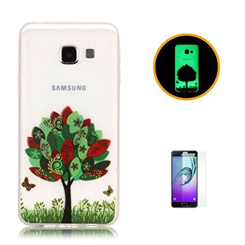 CaseHome Samsung Galaxy A3 (2016)/A310F Luminous Hülle (Mit Frie Displayschutzfolie) Leuchtende Silikone Rückhülle Für iPhone 6 6s Plus 5.5 Zoll Zoll Silikon Etui Handy Hülle Weiche Transparente Lumin Bunte Blätter Schmetterling