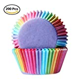 Kumkey 200x Papier Kuchen Muffin Tasse Cupcake Fällen Liner Regenbogen Cupcake Wrappers Muffin Back Förmchen Cupcake Dekoration für Hochzeit Weihnachten Geburtstag Party