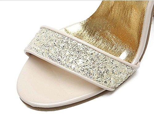 Chunky Heels Kristall Transparente Ferse Sandalen Dame Mode Offener Zeh Hohl Sequins Transparente Ankel Strap Hoch-knöchel Abendschuhe Hochzeit Sandalen Eu Größe 34-40 Gold