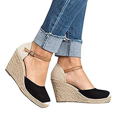 Shelers Damen Keile Schuhe Espadrilles Absätze Knöchel Gurt Fallen Sommer Sandalen (37 EU, X-Black)