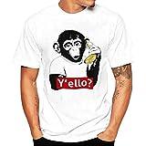 OHQ Shirt Imprimé pour Hommes Blanc Impression T-Shirts Chemise à Manches Courtes Blouse umour Couple Homme Sport Fashion Chic Original Pas Cher Manche (XL, Blanc)