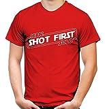 Han Shot first Männer und Herren T-Shirt | Comic Vintage Empire Geschenk | M1 (L, Rot)
