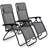 VonHaus Set of 2 Zero Gravity Chairs - Folding & Reclining Sun Loungers