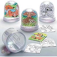 Baker Ross Bolas de Nieve de Animales del Bosque para Colorear (Pack de 4) para Manualidades y Decoraciones navideñas Infantiles