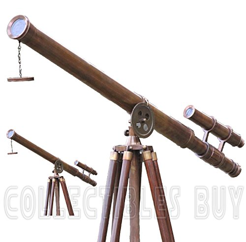 Get Classical Retro theme Telescope Antique brass rusty finish timber tripod compact on Line
