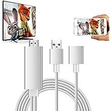 Lightning Adaptador de cable de AV de HDTV digital, VPRAWLS La última generación de enchufe y relámpago de 3ª generación a HDMI de alta velocidad 1080P Cable de espejo para iPhone Samsung Samsung Huawei P8 / P9 Smartphones - Sliver