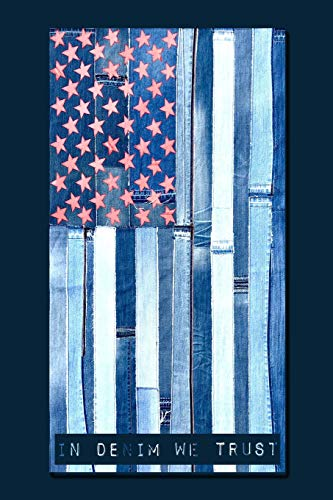 IN DENIM WE TRUST: 6x9 Patched Denim American Flag by ARTBYA notebook with dot grid pages. - Patriot Denim