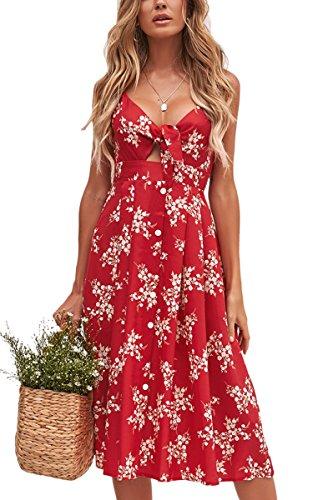 c8e3ac3b83c938 ECOWISH Damen V Ausschnitt A-linie Kleid Träger Rückenfreies kleider  Sommerkleider Strandkleider Knielang 1603Rot S